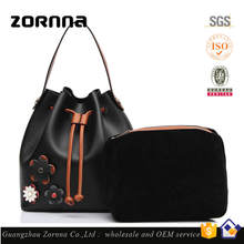 High End Custom Brand Women Genuine Leather Ladies Red Liquidation Handbags With Flower On Front Of Handbag