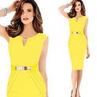 2015 office lady dress sexy bodycon waist design dress women formal career dress