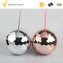 600ml Plastic Customized Color Drink Spherical Cup With Straw