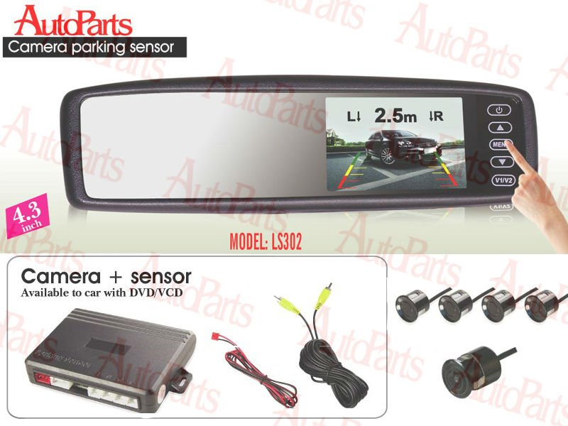 4.3'' TFT Touch screen rearview LCD Monitor Parking sensor with 5 sensors with one night Camera