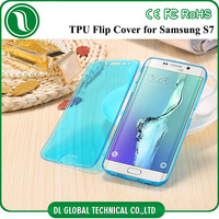hot tpu transparent flip cover for samsung galaxy s7 s7 edge with kickstand