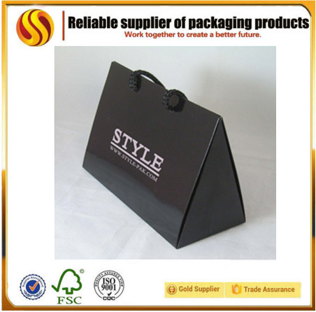 Factory promotion full printing matte black paper bag / triangle shape items for luxury triangle bag