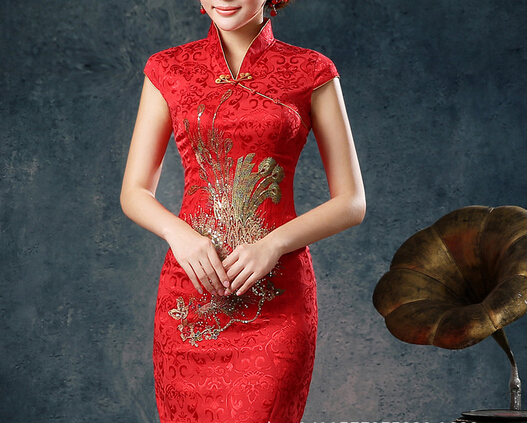 d72102h 2016 Chinese traditional red short sleeve long length cheongsam dress
