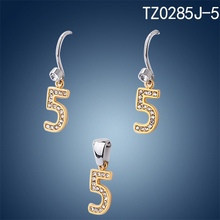Stock and fast delivery stainless steel 18K gold plated letter J earring jewelry set zircon wedding jewelry sets dubai bridal