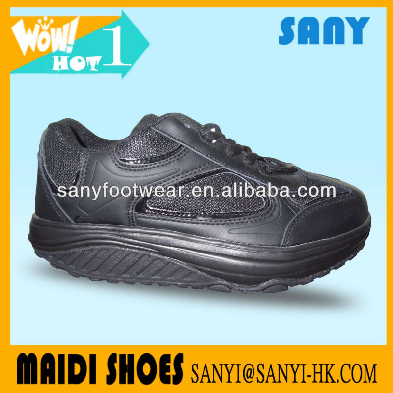 2013 Newest Designed Unisex Comfortable Black Fitness Step Shoes with Highly Flexible Outsole