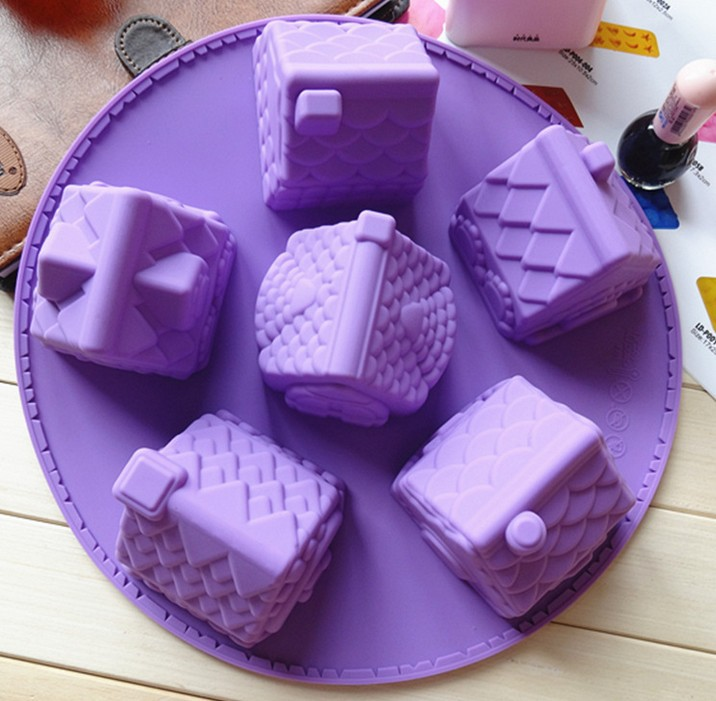 6 small house Silicone model mould cake 6 small house mould cake silicone ice cube mould cake