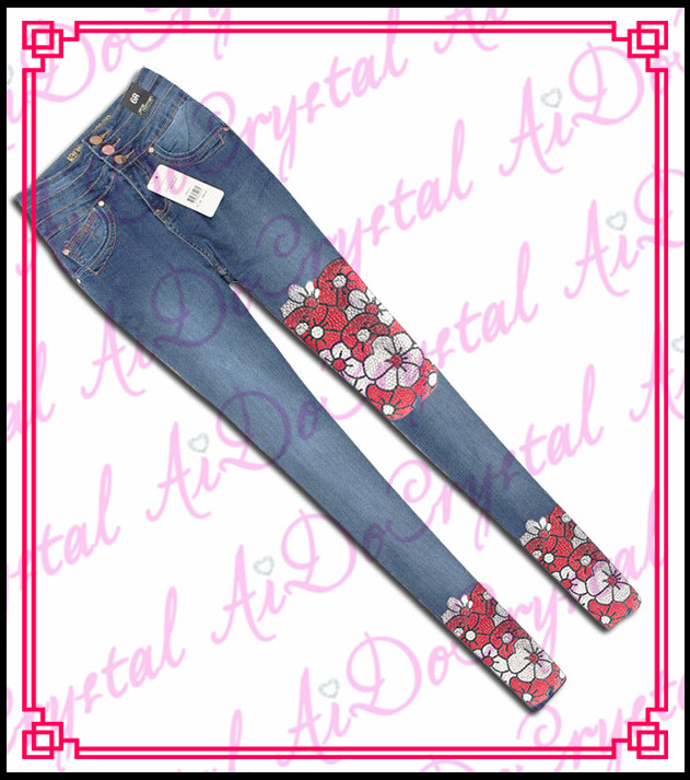 Aidocrystal Fashion dresses crystal jeans embroidery design of blue skinny jeans
