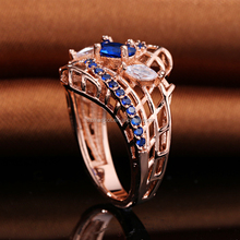 Good Quality Rose Gold Plated Tanzania Blue Crystal Wedding Engagement Finger Rings for Proposal