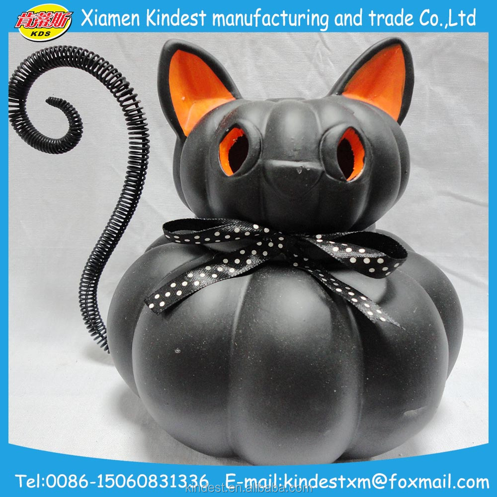 hot selling printed black cat pumpkin shape ceramic, LED light pumpkin