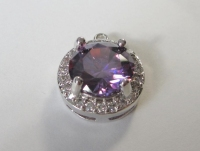Medium Silver Plated Amethyst Colored Cubic Zirconia Layer Setting Pendant,Findings,Link,Brides,Wedding Jewelry(14x12MM)