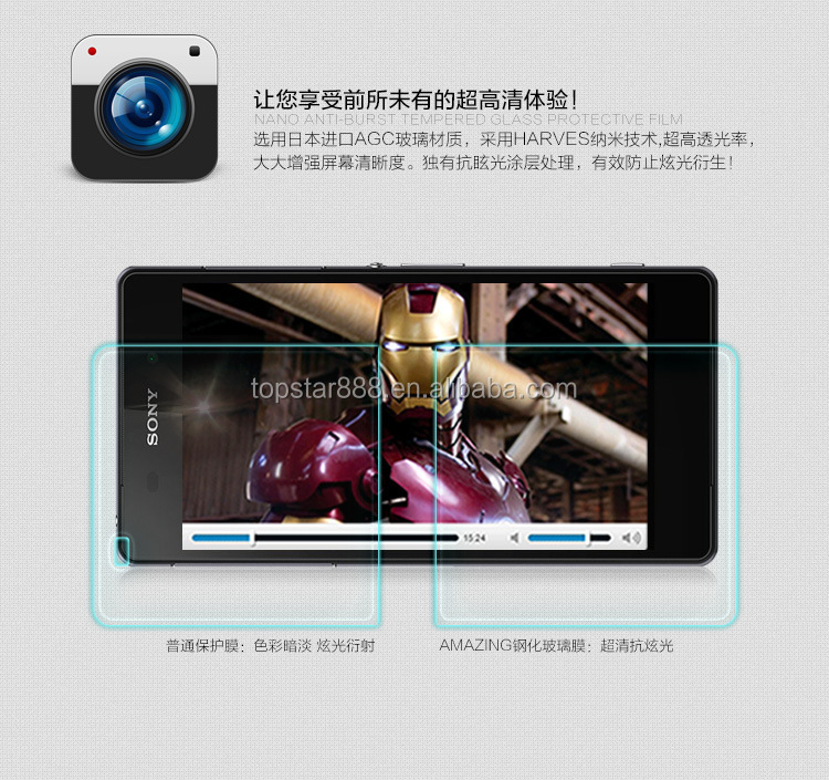 2017 Surprise high quality 9H 0.3mm 2.5D Nanometer Tempered Glass screen protector for sony Z2