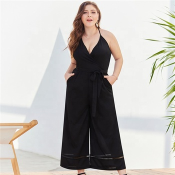 OEM instock fashion design summer plus size romper and jumpsuit for fat women