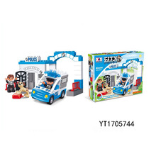 39PCS kids enlighten poloice station building block about city police