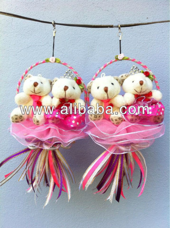 Pink Couple Hanging Teddy Bear Party/Wedding Gifts 11cm x 20cm