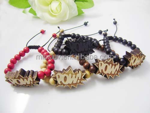 Wholesale mens lucky beads bracelet hip-hop good wooden bead bracelet