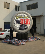 giant inflatable tire logo with Replaceable billboards