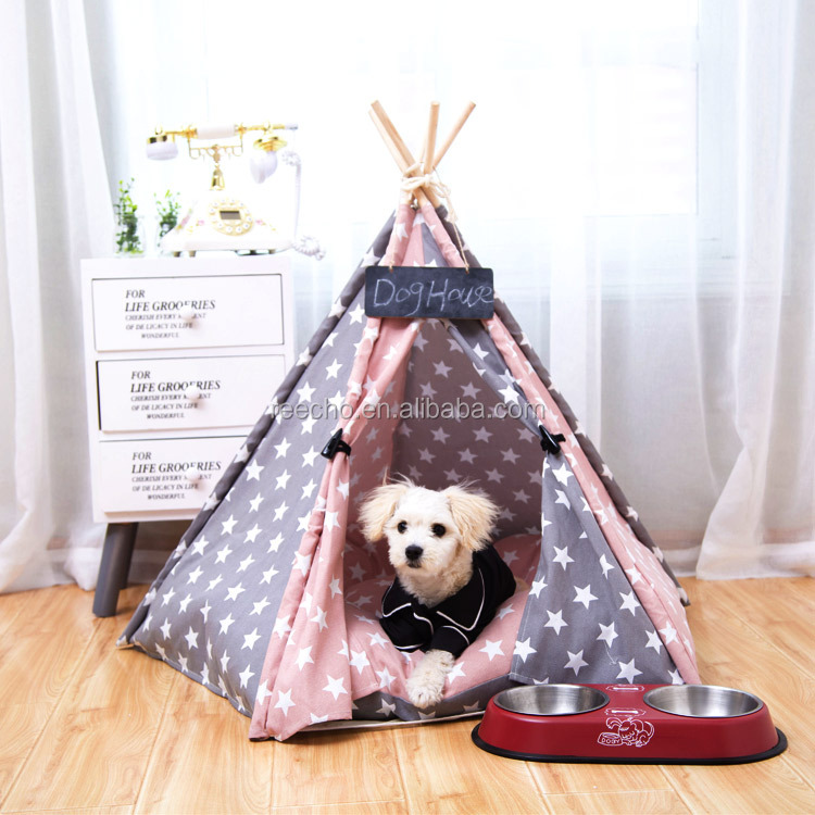 New Luxury Foldable Cotton Fabric Tipi Tent for Pets Dog/Cat teepee