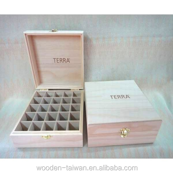 Pine Wooden Essential Oil Box with beveled edges between box & lid