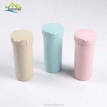 Custom logo 500ml biodegradable wheat straw bottle wheat fiber cup with lid for outdoor