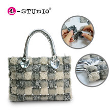 DIY puzzle toy fashion bag girl handbag soft plush purse for christmas gift