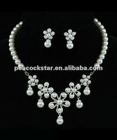 Bridal Wedding Flower Cream Ivory Faux Pearl Necklace Set CS1207