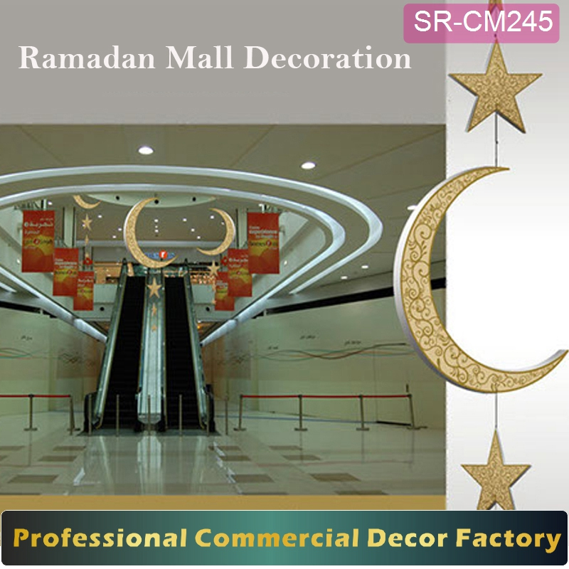 Custom commercial shopping mall ramadan decoration with moon and star