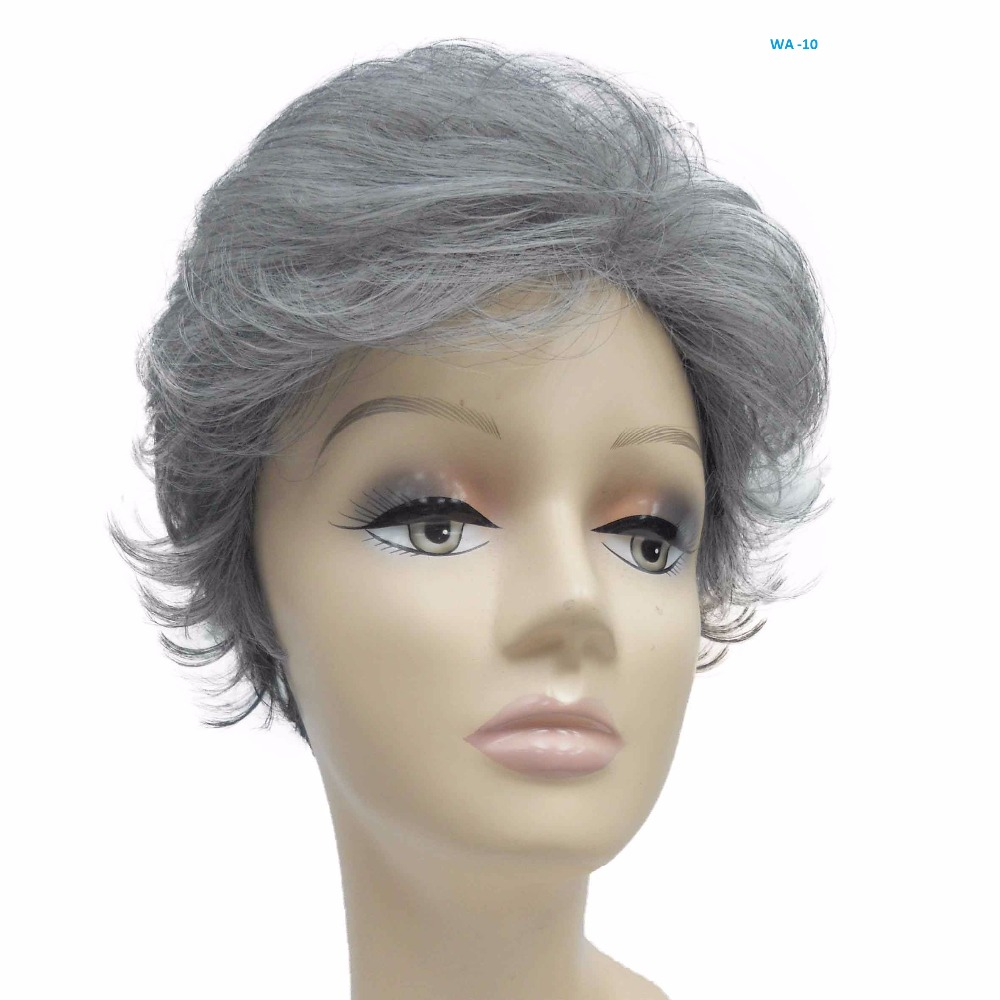 Short Curly 9 inch Natural Grey color Modern Looking Best Quality middle-aged old aged lady wig Full wig