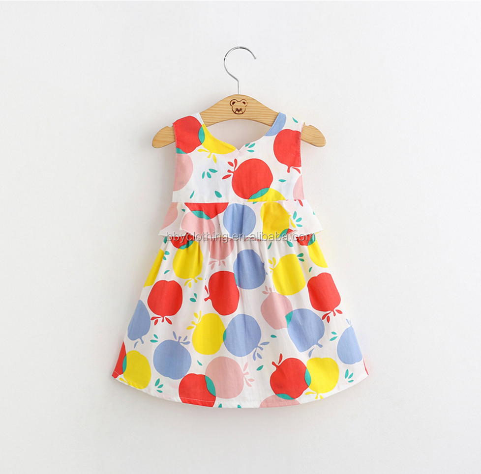 Latest 2016 baby cotton frocks designs backless colored apple dress