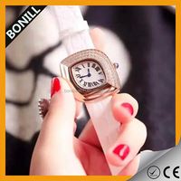 Hot sale vogue ladies bracelet watches, stainless steel back leather classic watch