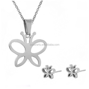 Simple Fashion Stainless Steel Polished Butterfly Pendant Necklace & Stud Earrings Jewelry Set