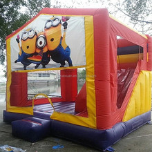 Commercial grade minion inflatable bouncer jumper/ jumping bouncy castle with slide combo
