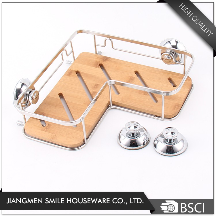 Wall mounted suction cup bamboo corner shelf