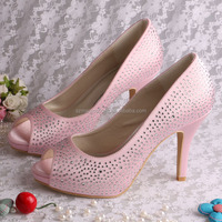 (20 Colors)Wholesale Crystal High Heeled Pink Shoes for Women
