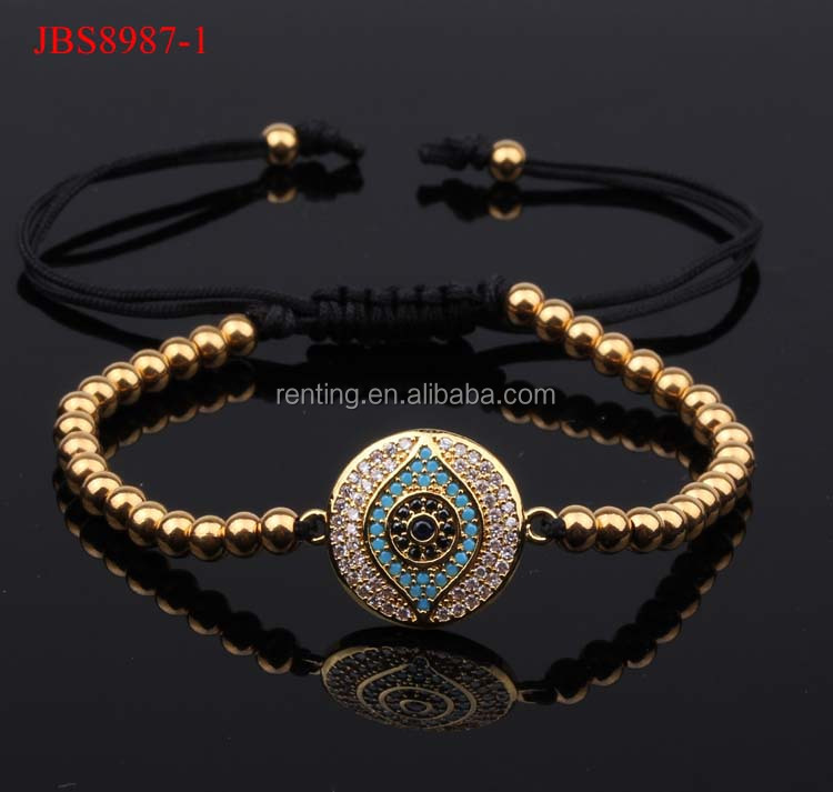 Luxury CZ diamand evil eyes lucky women and men macrame bracelet