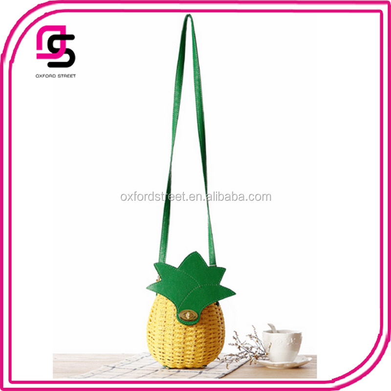 alibaba China suppliers summer woman shoulder beach bag cute straw bag pineapple shaped rattan crossbody bag