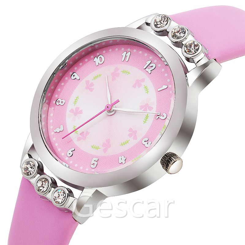 gescar 8539 flower dial elegance candy color leather belt wrist watch for lady women