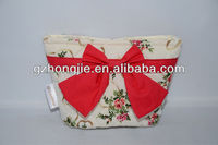 red cotton buttonfly christmas gift bag with mark