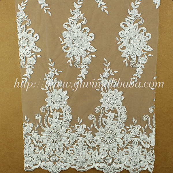 Newest design white indian 3d lace fabric beaded bridal lace fabric for wholesale