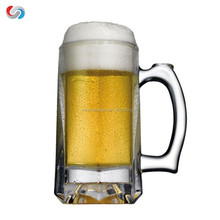 2016 hot selling high quality large glass beer mug with logo glass cup