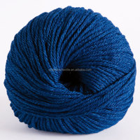 2014 Hot Sale fancy merino wool blended silk ball yarn with dark royal blue color