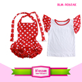 Wholesale new arrival summer backless bubble romper ruffle baby girl rompers whitepolka dots