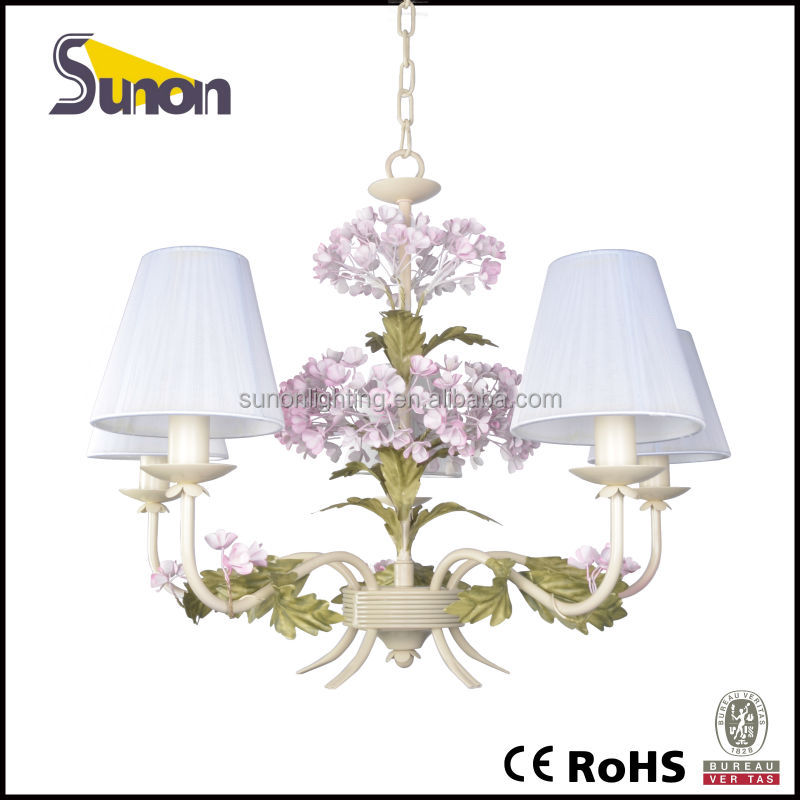 Wrought iron paint 5 lights decorative mini rose pink lamp shades chandelier
