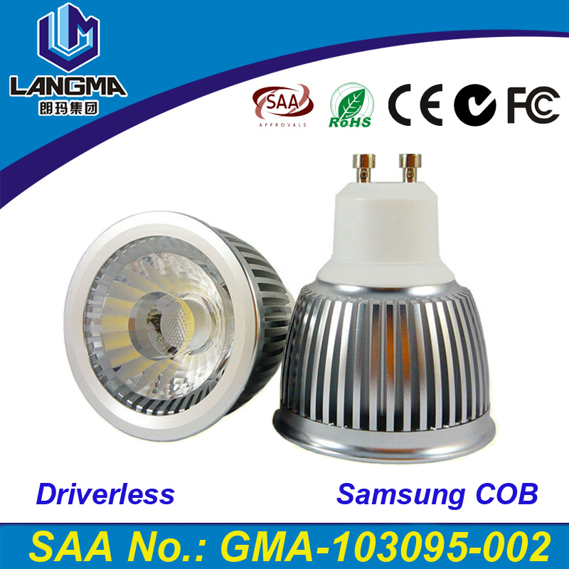 Langma gu10/E27 dimmable 6W Samsung COB AC110-220V High Power Led cob Light Bulbs led ceiling spotlight