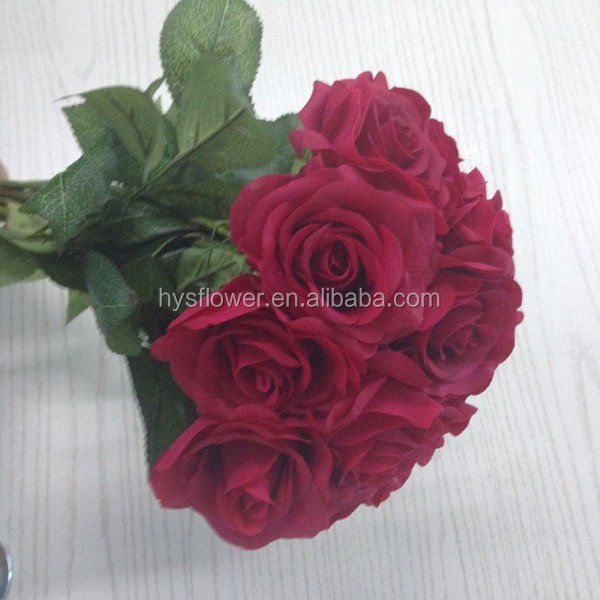 Flower making hand-feeling small single stem latex rose wedding car artifical flower