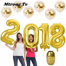 "40"" gold Silver black 2018 Foil number Mylar Balloon with confetti latex Transparent Balloons New Year Decorations globs"