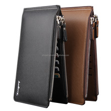 wholesale baellerry brand men's long type multi-functional card holder pu wallet