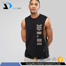 Daijun OEM high quality 100% cotton black printing muscle tank top wholesale
