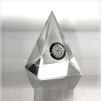 Clear pyramid triangle crystal desk clock as office table timepieces