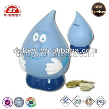 ICTI certificated custom made diy water drop shape coin banks wholesale for kids