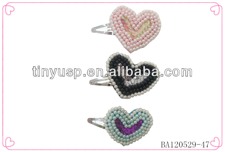 Heart shaped hair pins,pearls new design hair clips,mini hair pins for baby